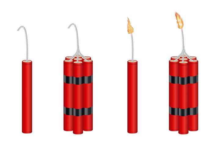 4款已经点燃的红色炸弹图片免抠素材