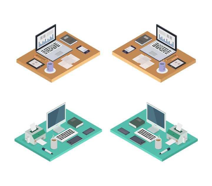 4款2.5D风格办公桌上的笔记本电脑办公环境免抠矢量图素材