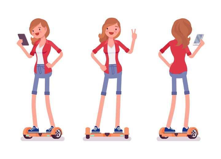 3款正在玩平衡车的卡通红衣女孩图片免抠矢量素材