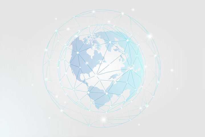 淡蓝色地球世界地图图案和包围在外面面的发光圆点和蓝色线条组成的网格图片免抠矢量素材