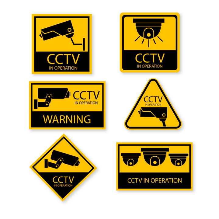 6款您已进入监控区域监视器摄像头提示牌警告标志警示标牌图片免抠矢量素材
