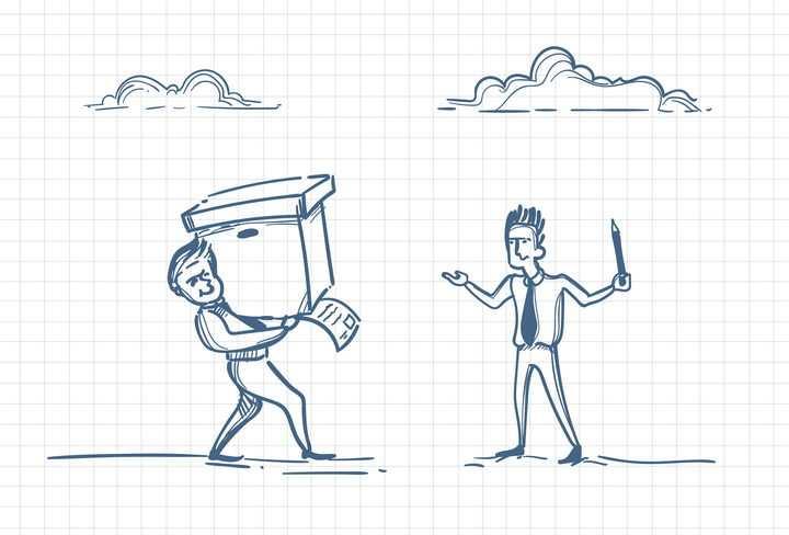 圆珠笔画涂鸦风格拿着文件等待领导签字职场人际交往配图图片免抠矢量素材