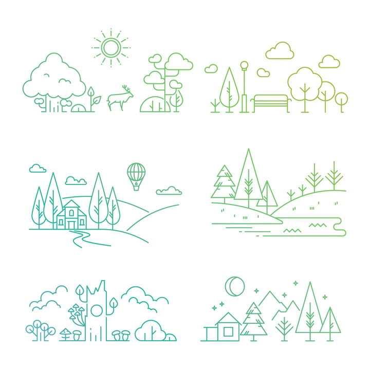 6款MBE线条风格森林风景图图片免抠矢量素材