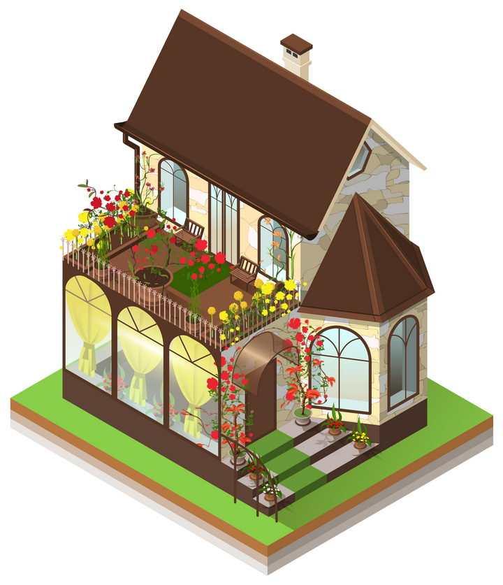 2.5D风格玻璃房小别墅图片免抠矢量素材