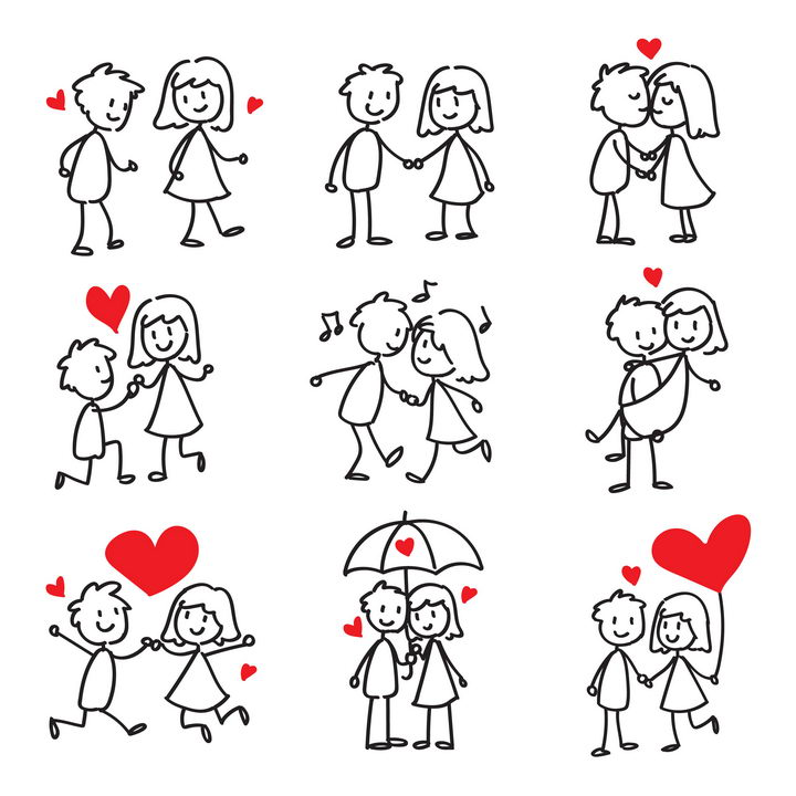 9款手绘卡通小人在一起的情侣简笔画儿童画图片免抠矢量素材