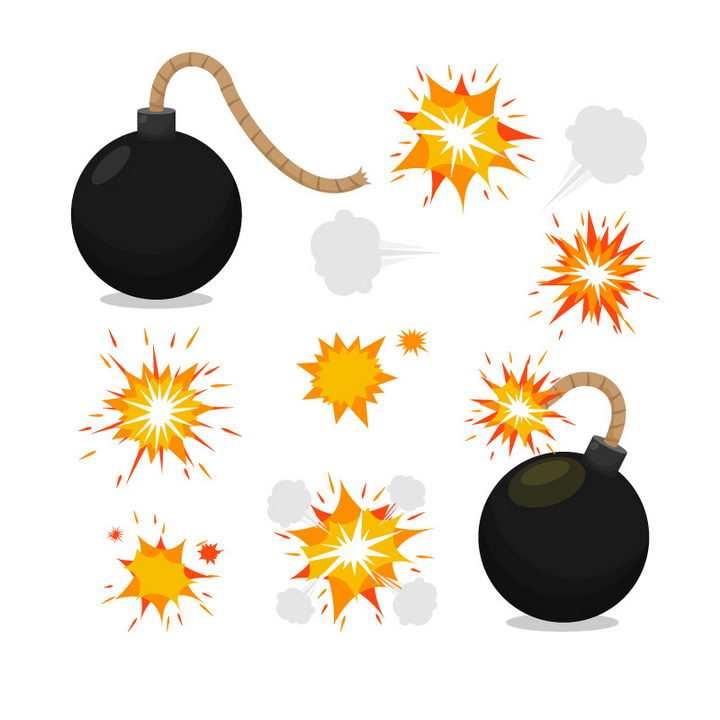 黑色炸弹爆炸效果图片免抠素材