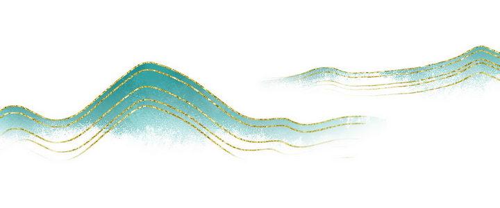 带有金丝装饰的青色远山风景图图片免抠png素材 插画-第1张
