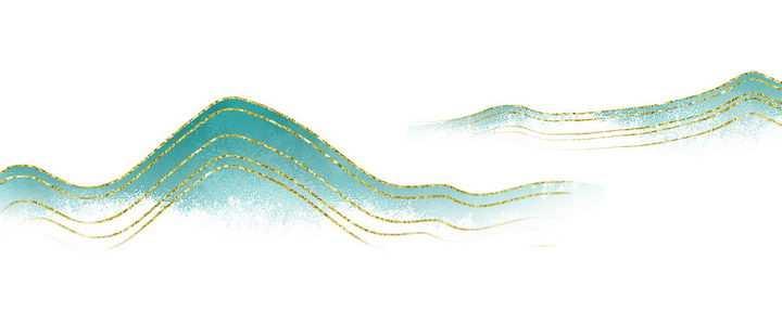 带有金丝装饰的青色远山风景图图片免抠png素材