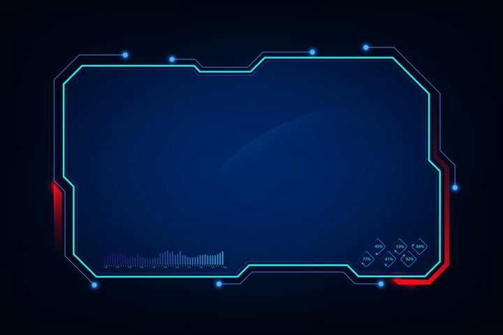 红色线条装饰的蓝色科幻风格不规则多边形文本框边框图片免抠矢量素材