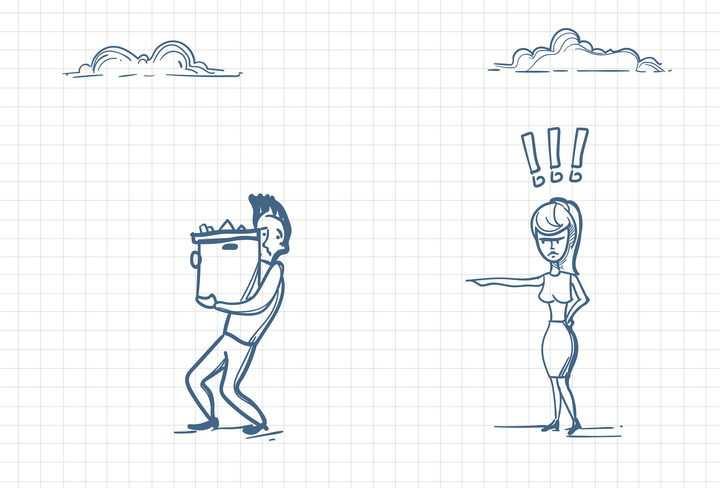 圆珠笔画涂鸦风格女士指挥男士搬东西职场人际交往配图图片免抠矢量素材