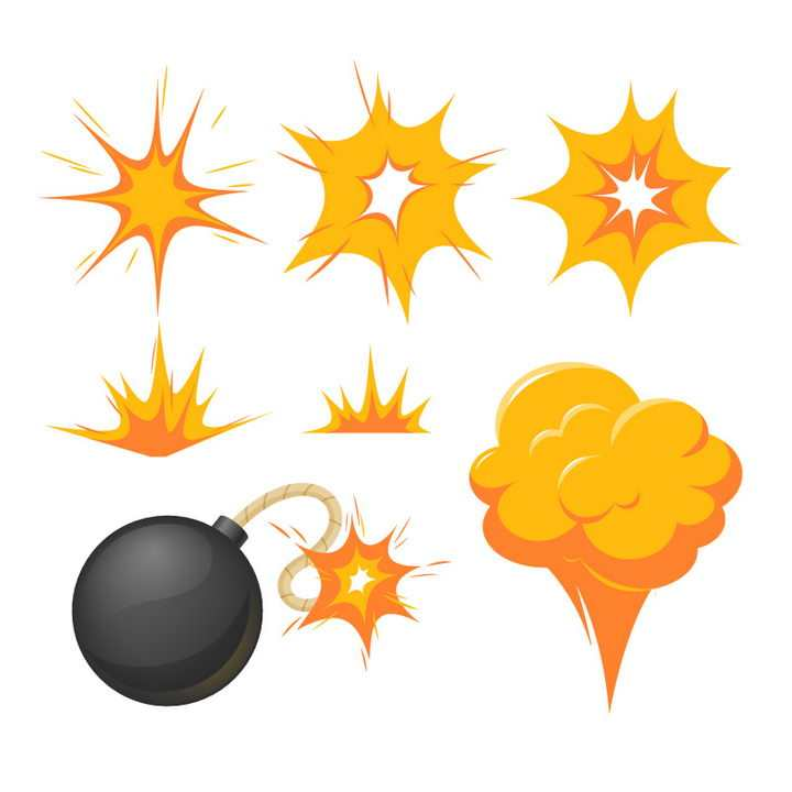 黑色炸弹和卡通漫画爆炸效果图片免抠素材
