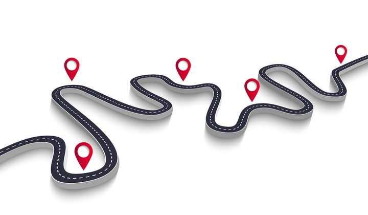 红色定位图标和弯曲的立体公路道路步骤图时间轴图片免抠矢量图