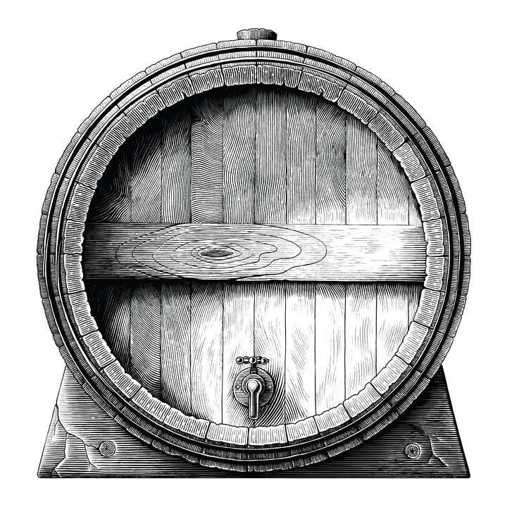 黑色手绘啤酒桶葡萄酒桶正面图图片免抠矢量图素材