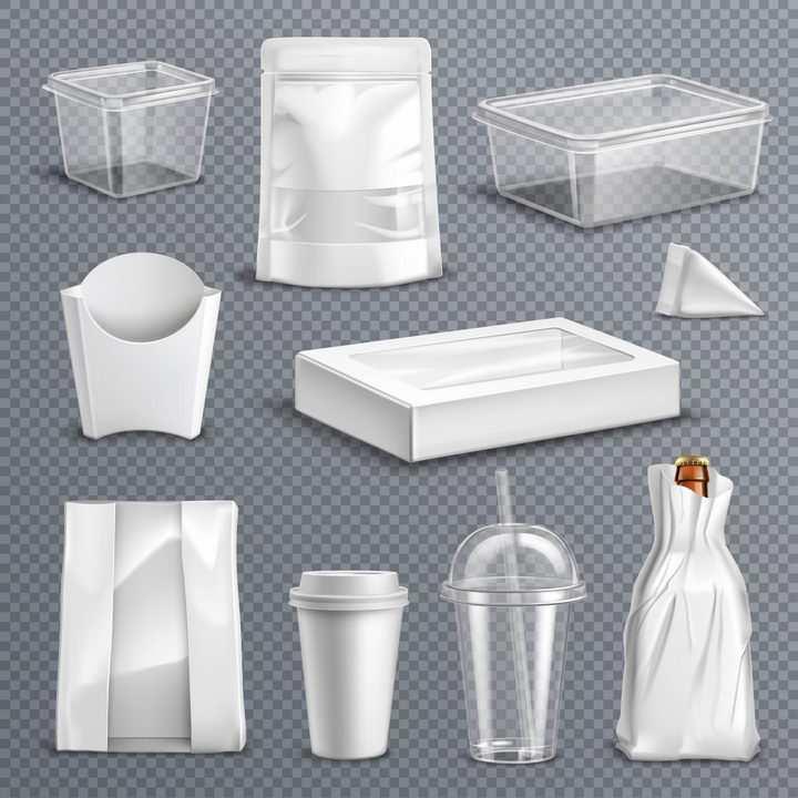 微波饭盒纸袋子一次性杯子等空包包装样式图片免抠矢量素材