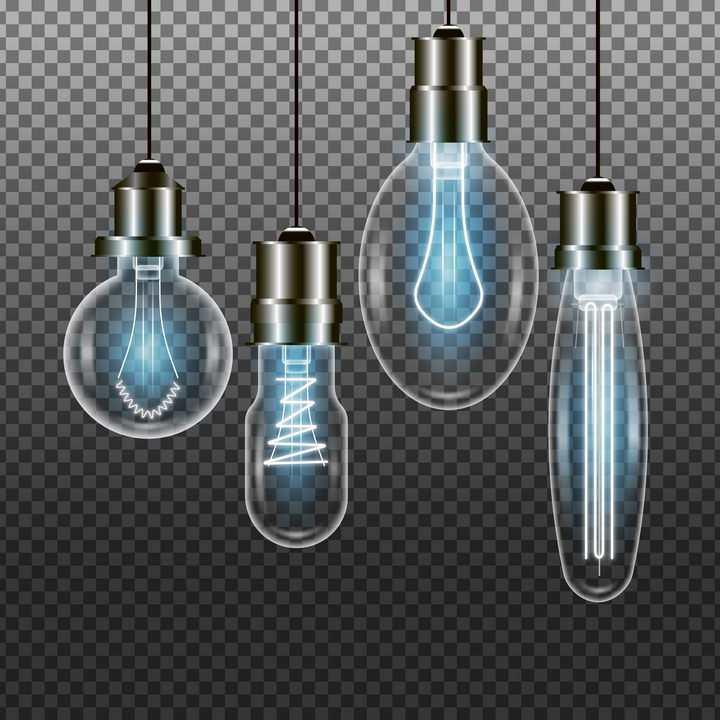 4款半透明复古蓝色白炽电灯泡图片免抠素材