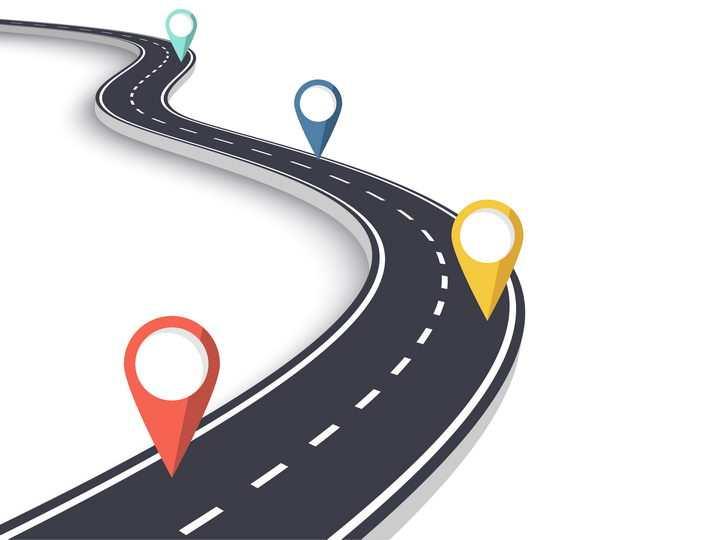蜿蜒的立体公路道路和彩色定位标志图片免抠矢量图