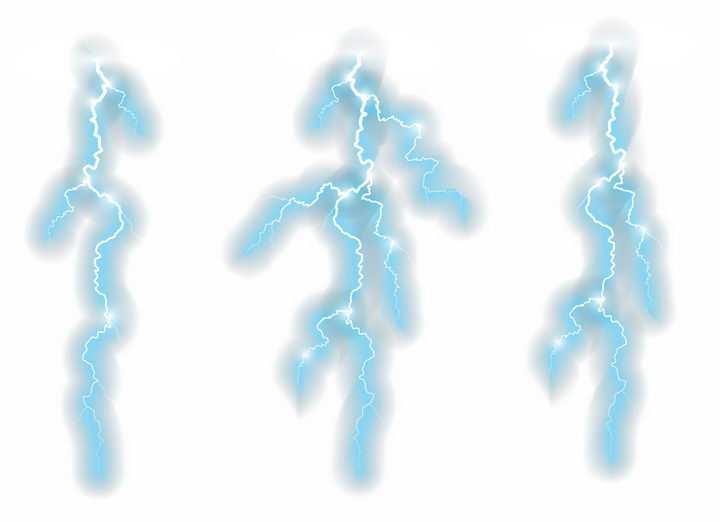 3款蓝色闪电自然奇观图片png免抠素材