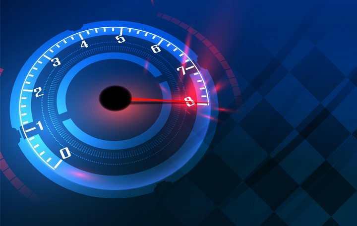 深蓝色速度表指针发着红光图片免抠矢量素材