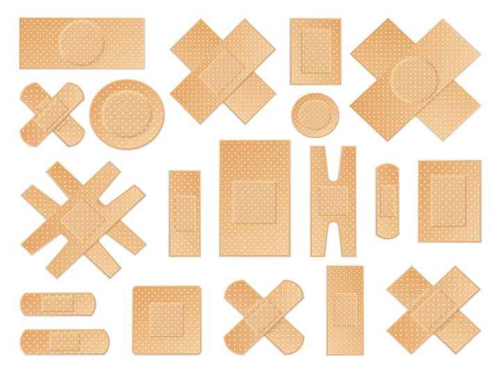 各种形状的医用创口贴医疗用品图片免抠矢量素材