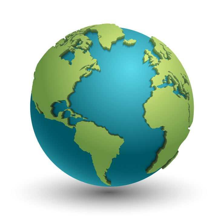 蓝色的立体地球和上面带阴影的绿色大陆图片免抠矢量素材
