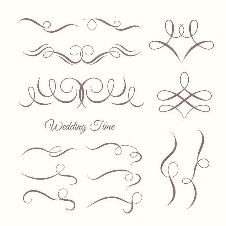 各种复古风格的装饰线条花纹图片免抠矢量素材