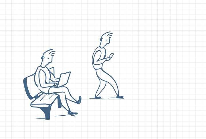 圆珠笔画涂鸦风格玩手机的低头族和用笔记本电脑的商务人士职场人际交往配图图片免抠矢量素材