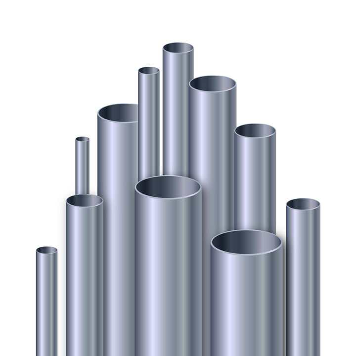 各种长短粗细不一的不锈钢钢管图片免抠素材