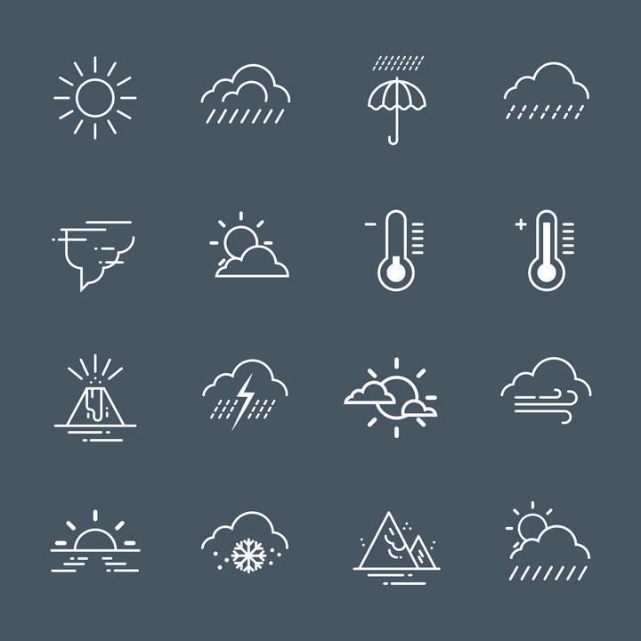 16款简约白色风格晴天下雨高温低温下雪等天气预报图标图片免抠矢量素材 图标-第1张