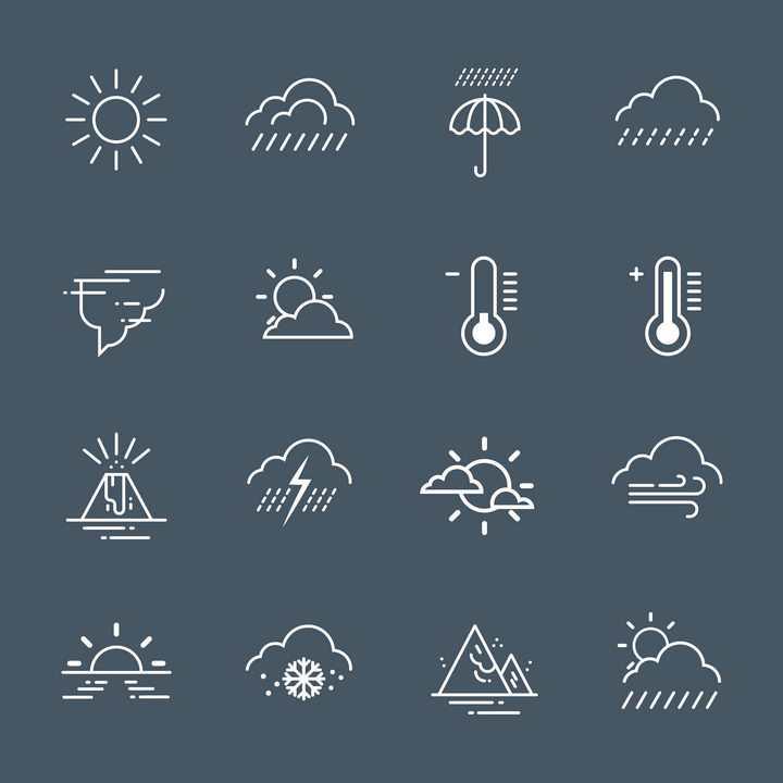 16款简约白色风格晴天下雨高温低温下雪等天气预报图标图片免抠矢量素材