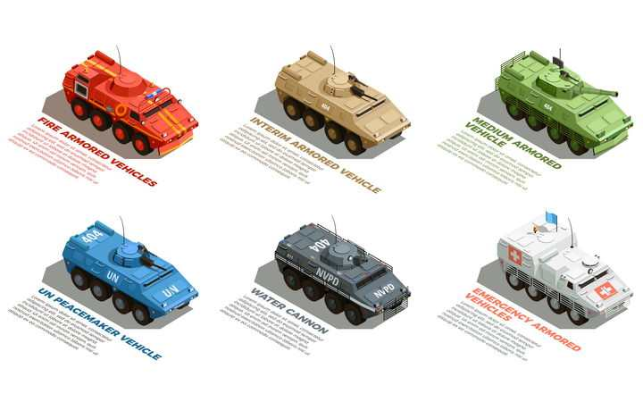 2.5D风格不同涂装的装甲车人员输送车医疗车等军事车辆装备图片免抠矢量素材