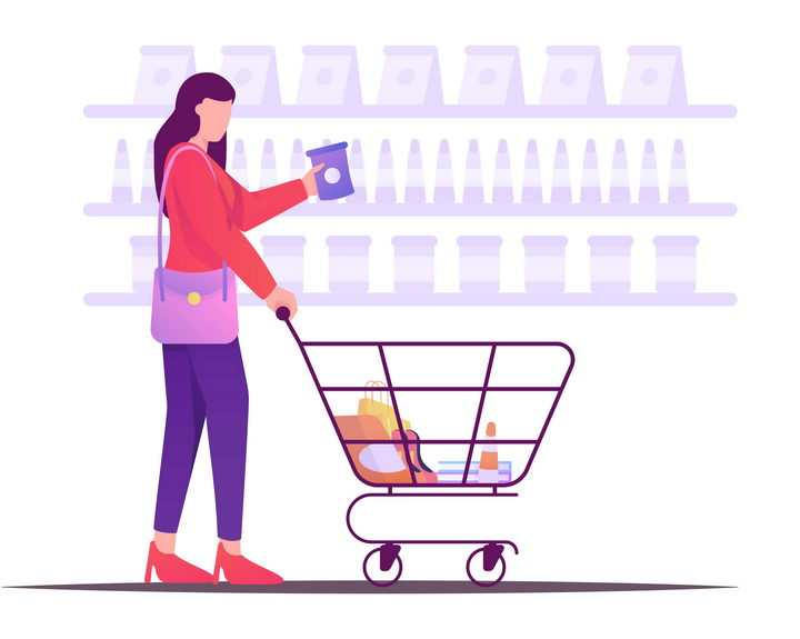 扁平插画风格在超市推着购物车的年轻女孩图片免抠矢量图素材