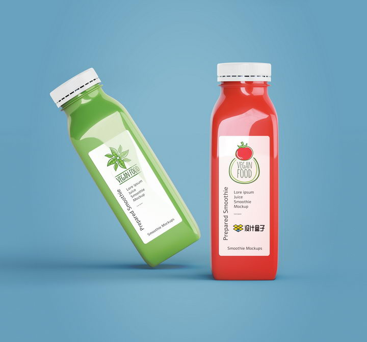 一瓶红色一瓶绿色的饮料瓶上的包装设计样机PSD图片模板 样机-第1张