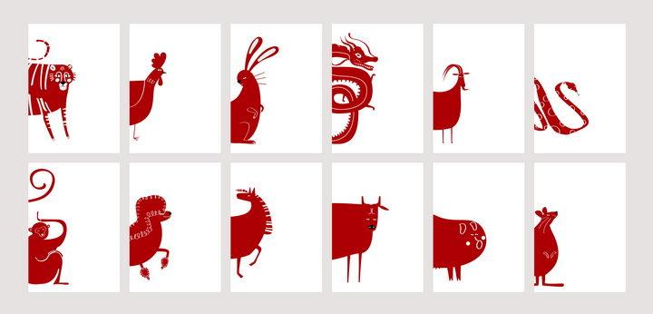 红色剪纸卡通风格十二生肖图片免抠矢量素材 教育文化-第1张