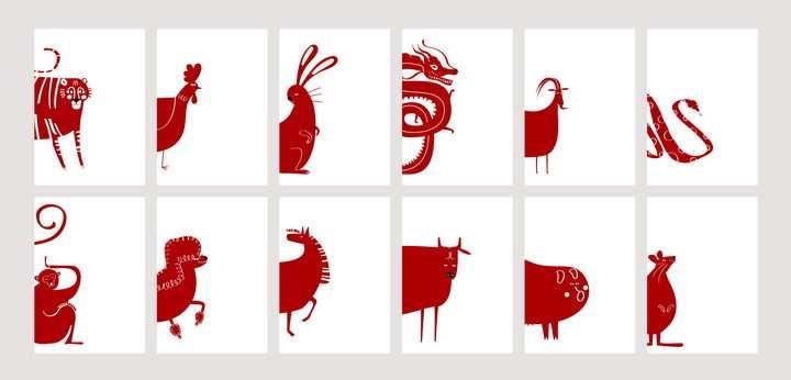 红色剪纸卡通风格十二生肖图片免抠矢量素材
