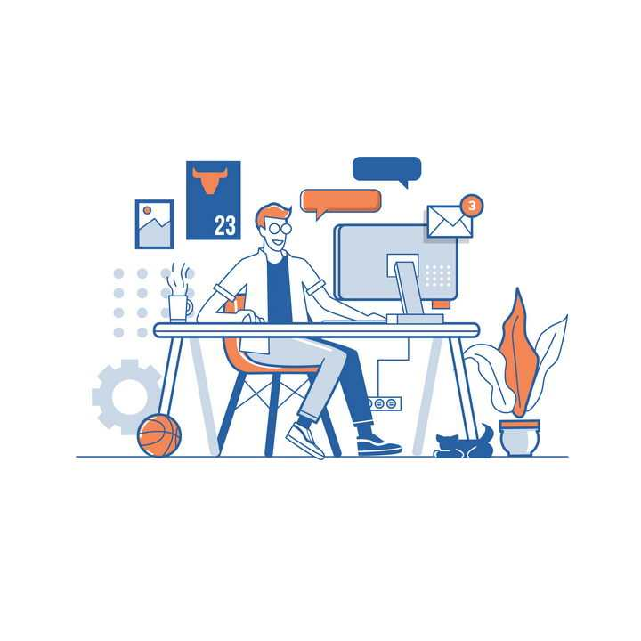 扁平插画风格正在用电脑发邮件聊天工作的年轻人免抠矢量图素材