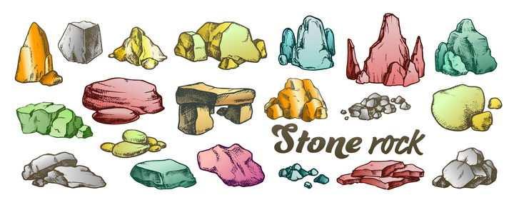 各种形状和颜色的手绘风格岩石石头图片免抠矢量素材