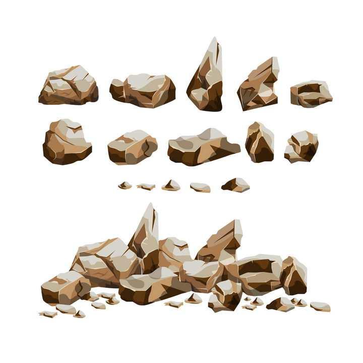 各种破碎的褐色石块石头岩石图片免抠矢量素材