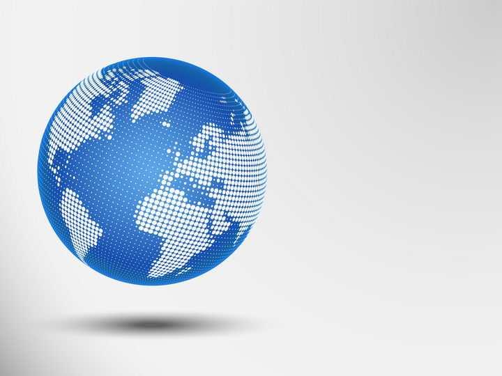 白色圆形点阵组成的蓝色地球世界地图图片免抠矢量素材
