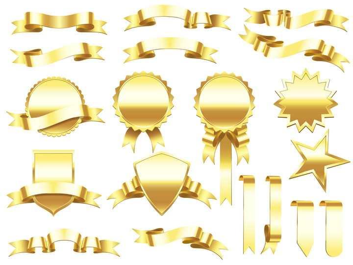 各种金色金属风格横幅旗帜标签奖章勋章图片免抠矢量素材