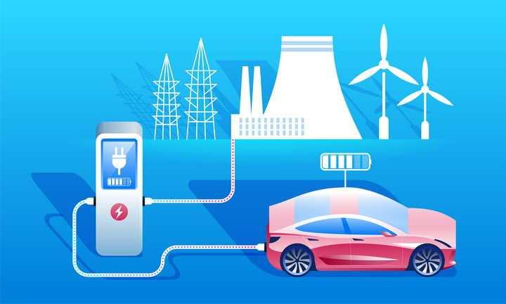 插画风格电动车充电新能源汽车图片免抠矢量素材