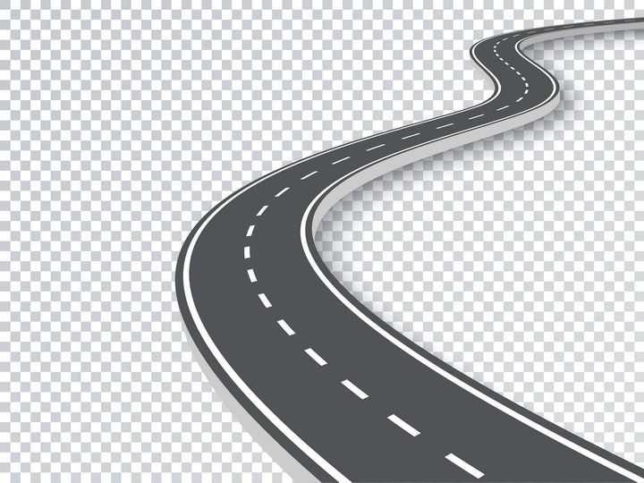 一款蜿蜒的立体公路道路元素图片免抠矢量图