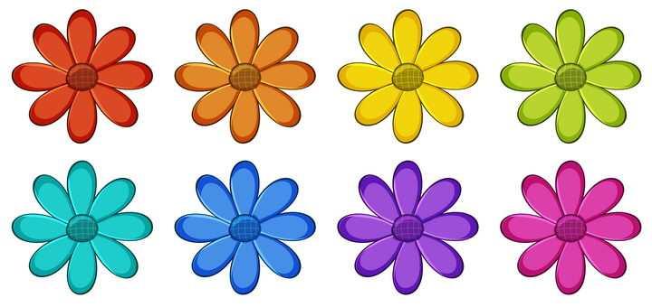 8种颜色的花朵花瓣图片免抠矢量素材