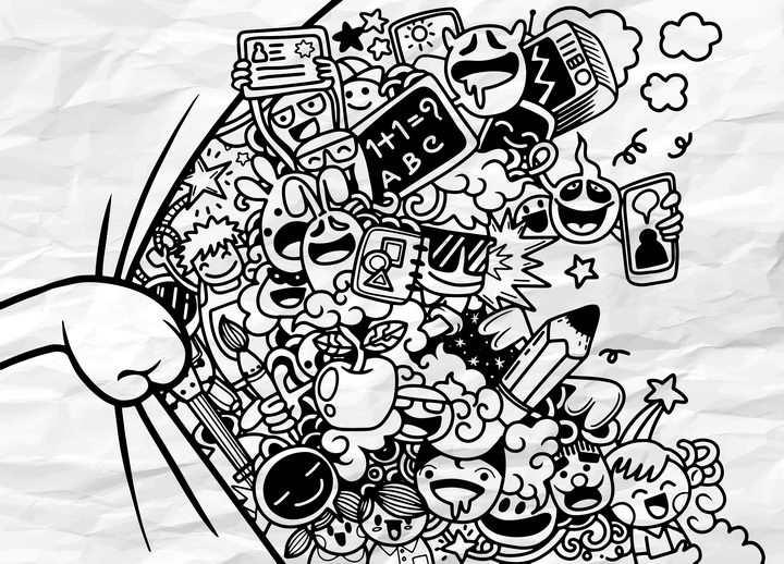 创意手绘风格拉开纸张后面的卡通漫画人物图片免抠矢量素材