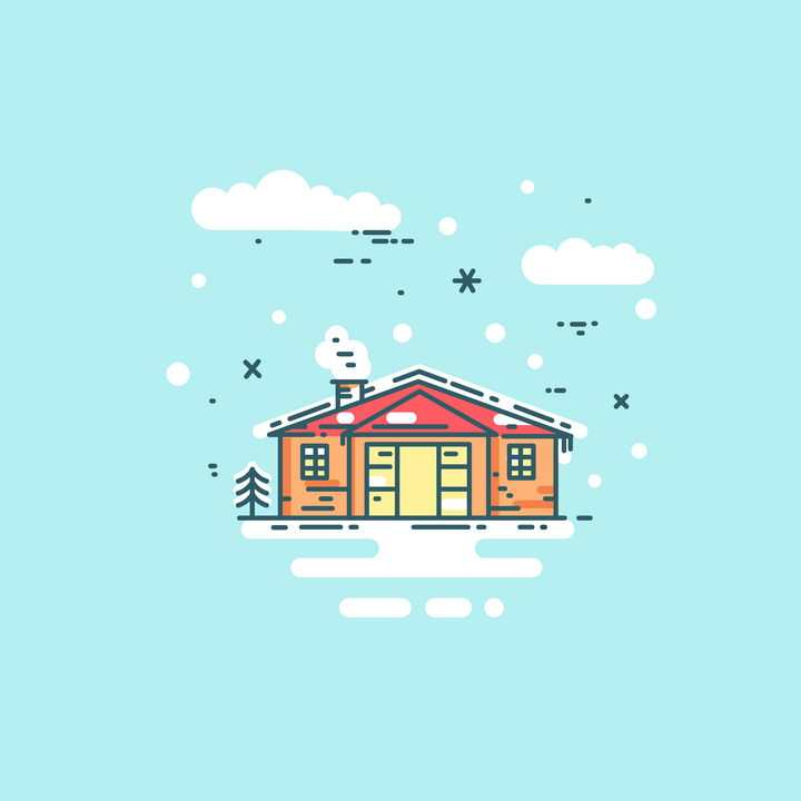 MBE风格彩色冬天被雪覆盖的房子免抠矢量图素材