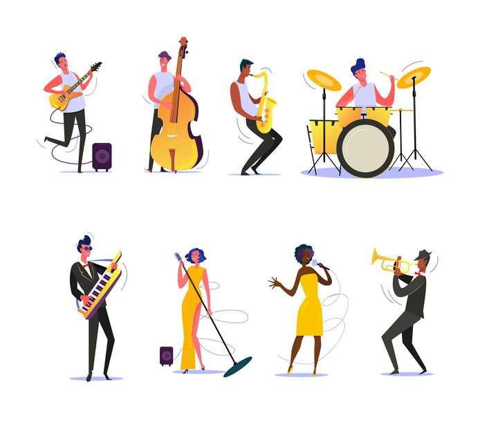 8款扁平插画风格演奏吉他大提琴架子鼓等乐器的音乐家图片免抠矢量素材