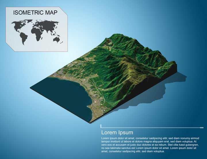 地理地质海边沿海的城市和山脉地形地貌PS 3D模型图片模板