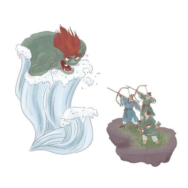 钱王射潮中国传统神话人物传说故事手绘彩色插图图片免抠png素材