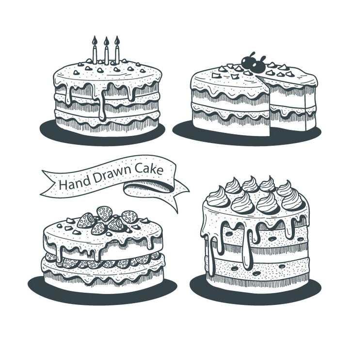 4款手绘素描风格生日蛋糕图片免抠素材