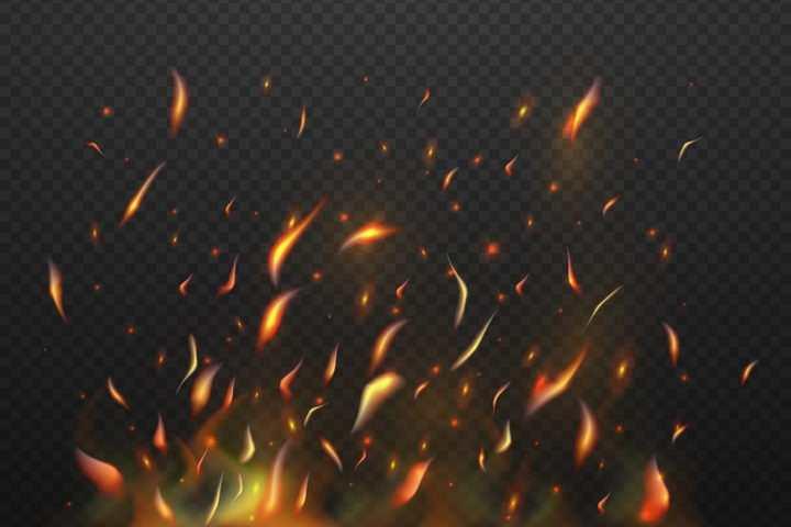 燃烧火焰上方飞舞的火花火星效果图片免抠矢量图素材