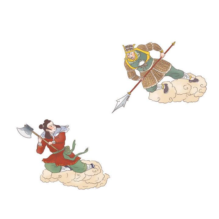 沉香大战二郎神中国传统神话人物传说故事手绘彩色插图图片免抠png素材 教育文化-第1张